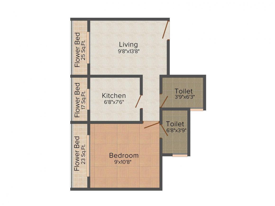 Floor Plan Image of 650.0 - 1150.0 Sq.ft 1 BHK Apartment for buy in Ryyan RS Residency