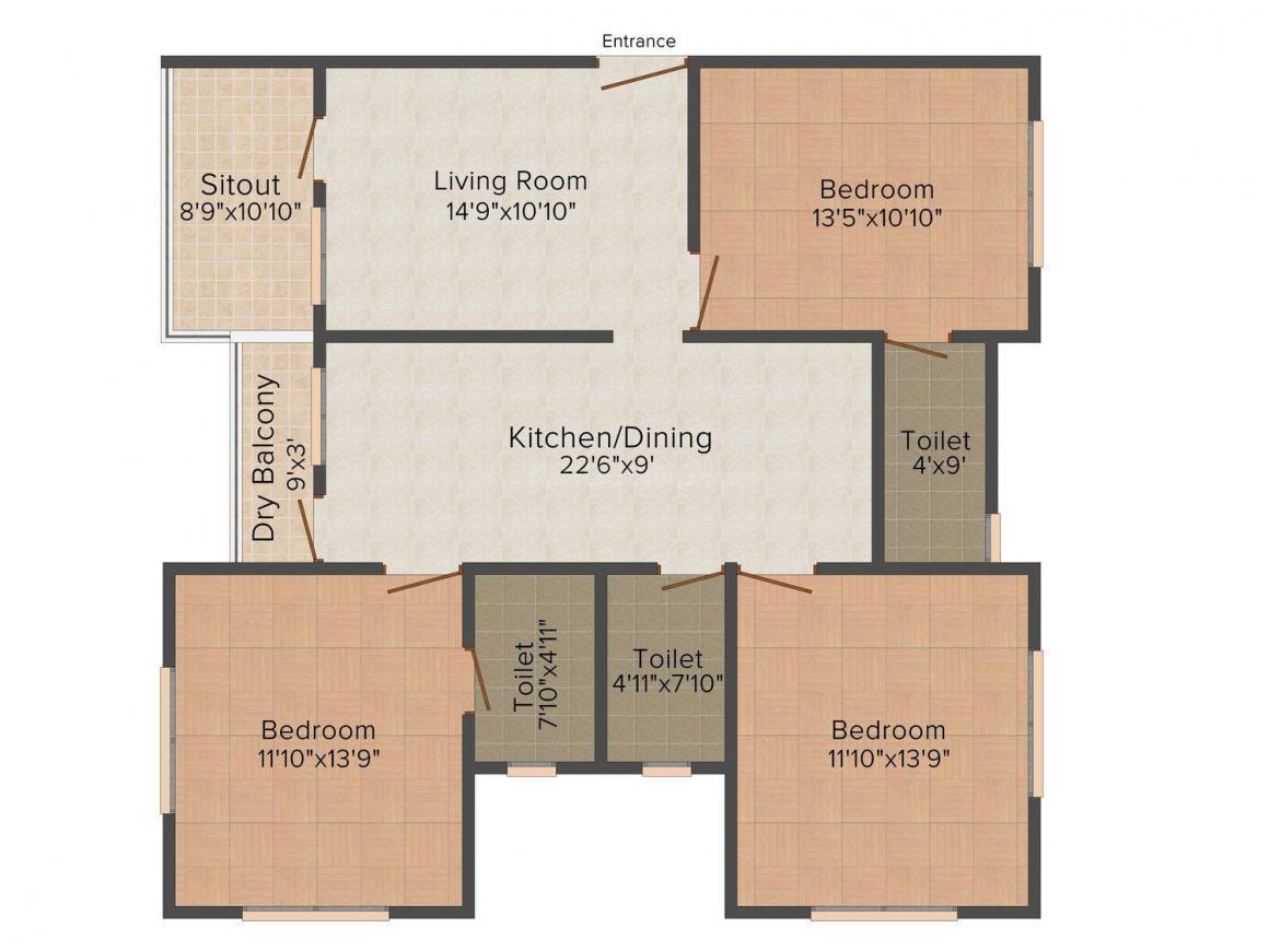 Abhijit Shri Malati Madhav Society Floor Plan: 3 BHK Unit with Built up area of 1366 sq.ft 1