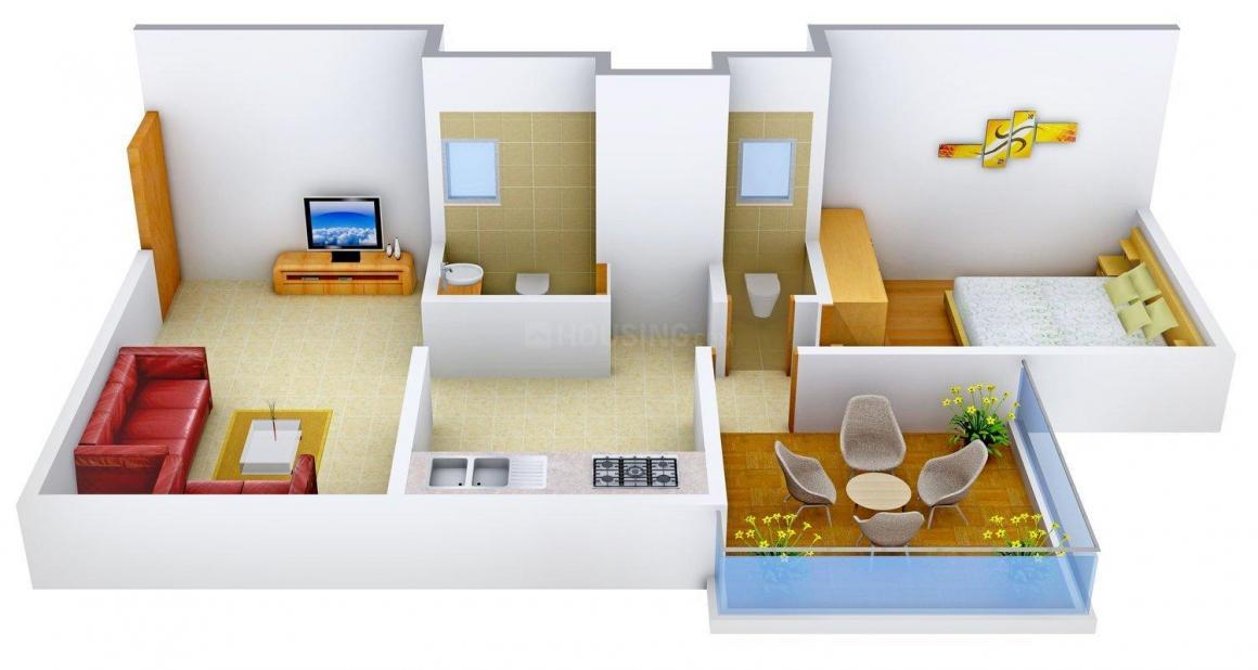 Floor Plan Image of 500.0 - 646.0 Sq.ft 1 BHK Apartment for buy in Sachet Flora Residency
