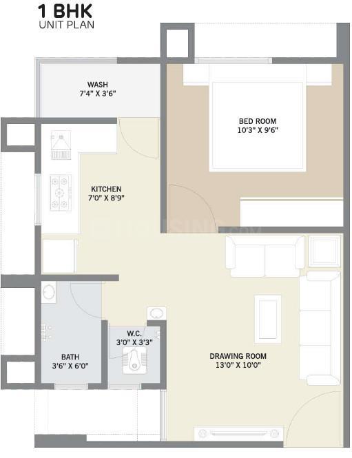 Meghaninagar Ganesh Lotus Floor Plan: 1 BHK Unit with Built up area of 321 sq.ft 1