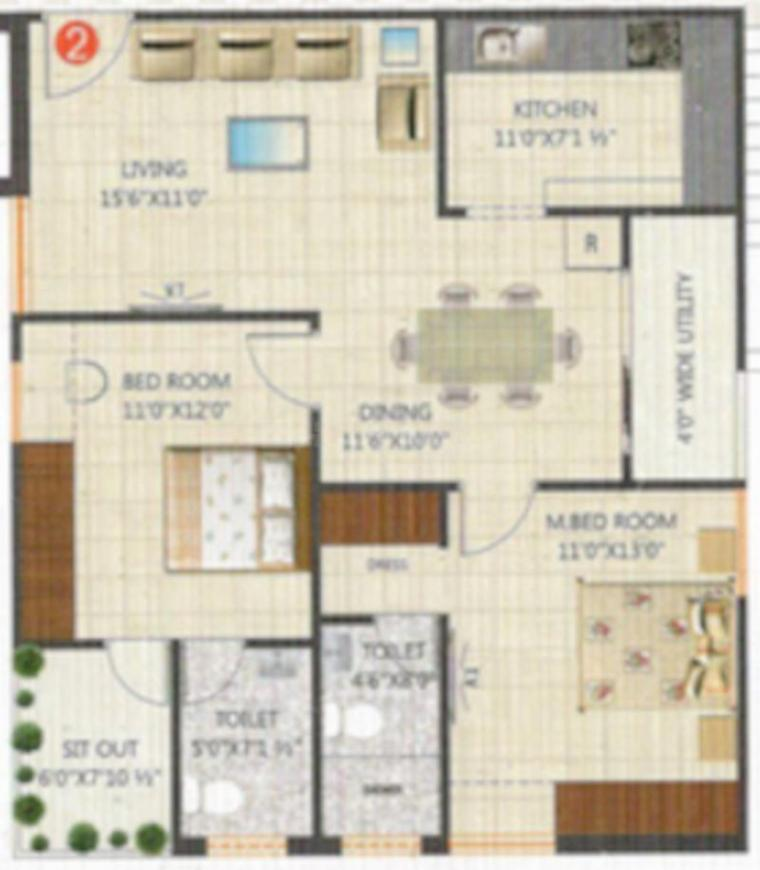 RNG Viswams Sunrise B Wing Floor Plan: 2 BHK Unit with Built up area of 1120 sq.ft 1