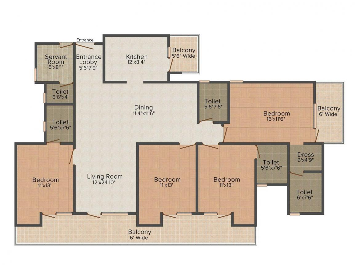 Kamal Ideal Iconic Tower Floor Plan: 4 BHK Unit with Built up area of 2145 sq.ft 1