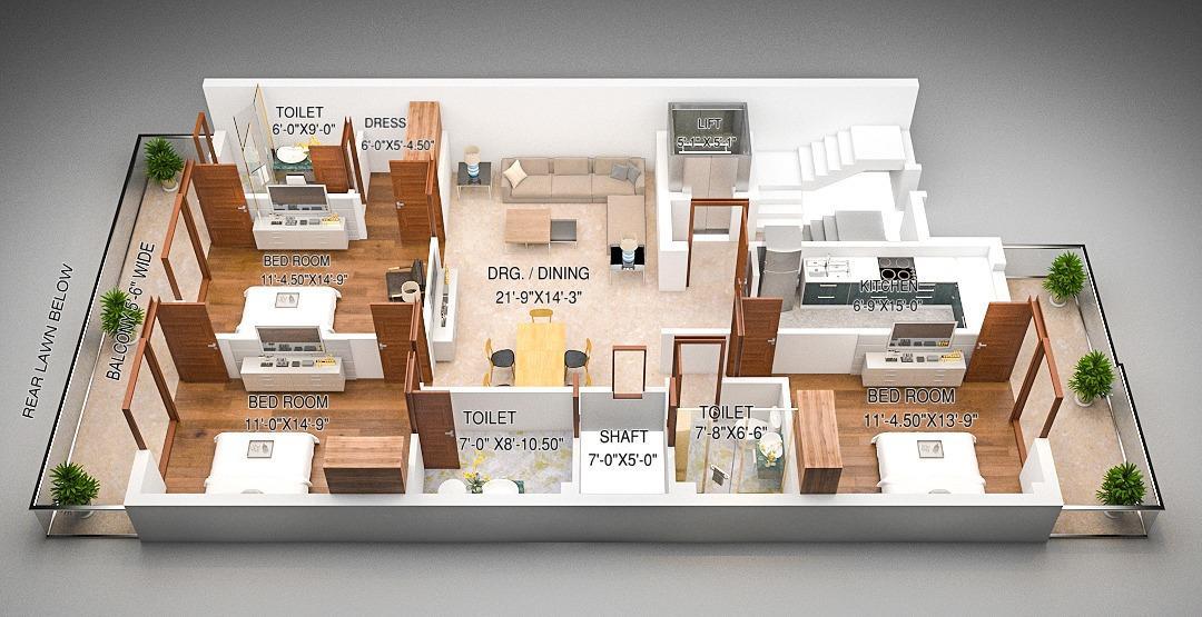 SSG Yash Vatika 4 Floor Plan: 3 BHK Unit with Built up area of 1260 sq.ft 1