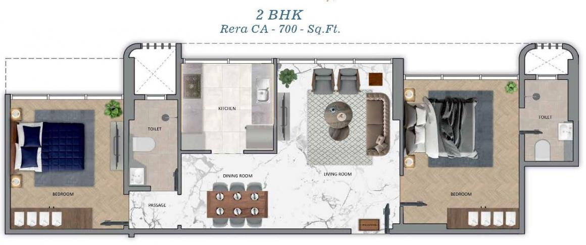 Sugee Akanksha Floor Plan: 2 BHK Unit with Built up area of 700 sq.ft 1