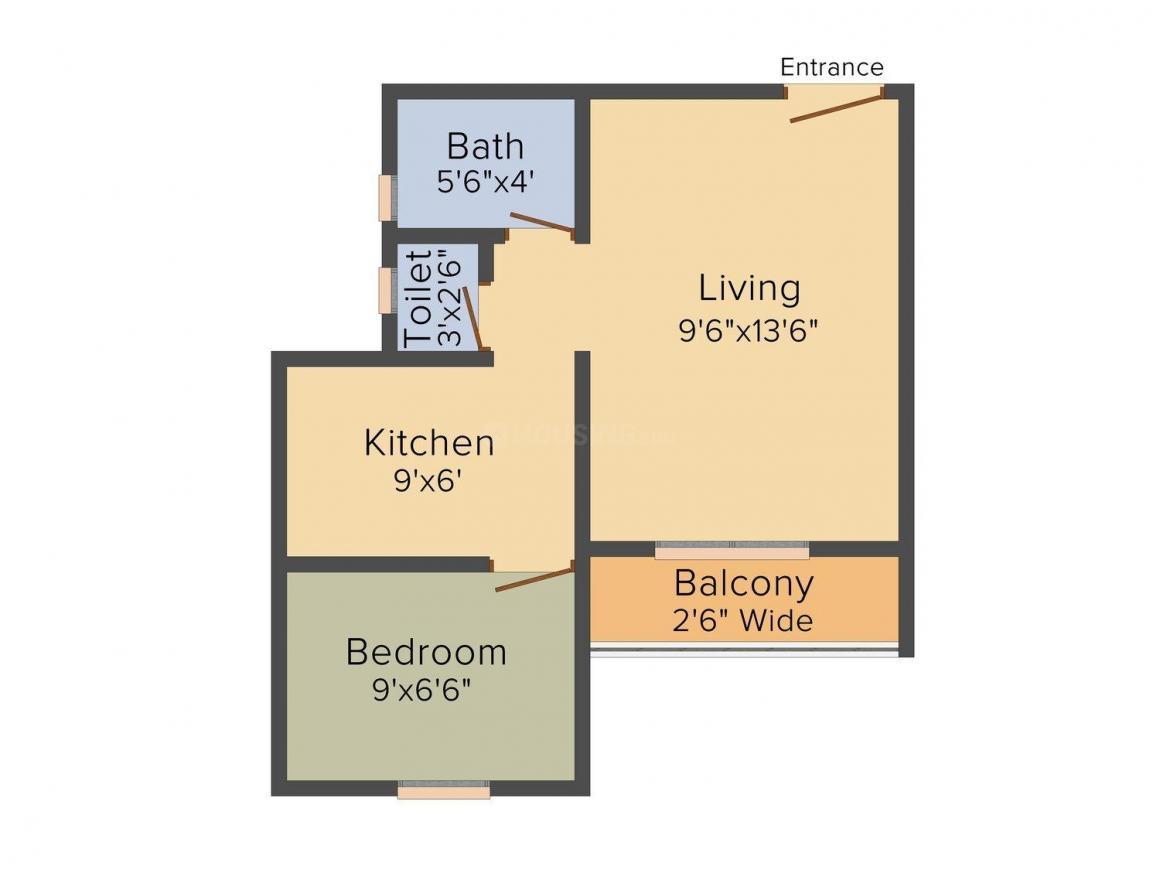 Floor Plan Image of 405 - 720 Sq.ft 1 RK Apartment for buy in High Life Devdarshan Apartment