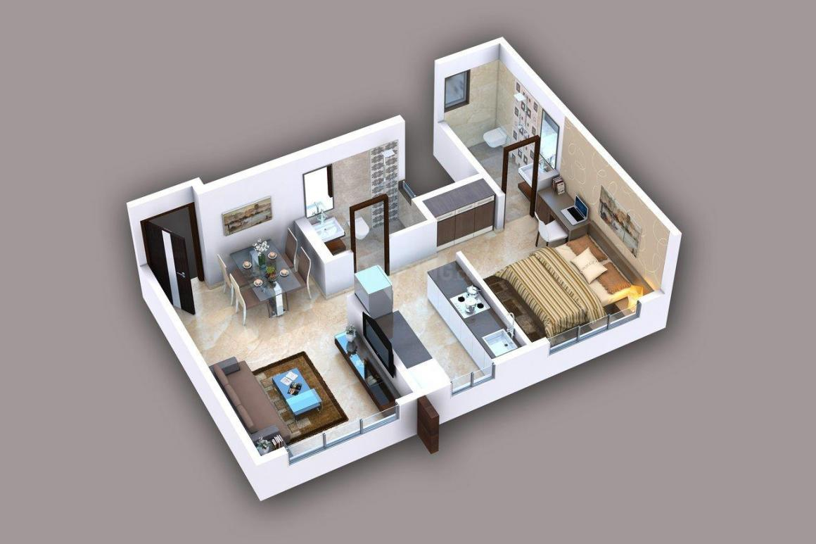 Gurukrupa Ugam Floor Plan: 1 BHK Unit with Built up area of 414 sq.ft 1