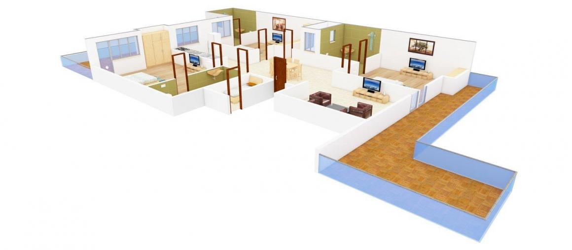 Floor Plan Image of 0 - 1650.0 Sq.ft 3 BHK Independent Floor for buy in Mod Floors - 1