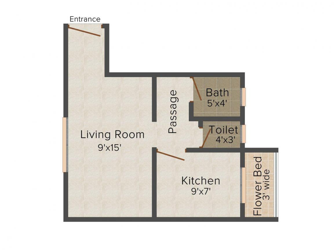 Floor Plan Image of 425 - 590 Sq.ft 1 RK Apartment for buy in Dhule Skyliner Heights