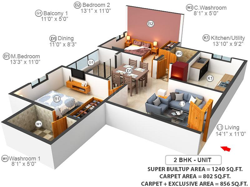Serene At Brigade Cornerstone Utopia Floor Plan: 2 BHK Unit with Built up area of 802 sq.ft 1