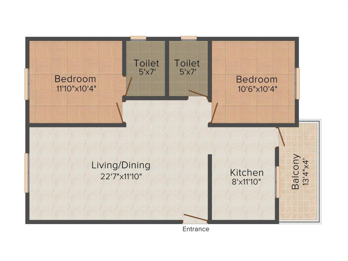 Adam Floor Plan: 2 BHK Unit with Built up area of 872 sq.ft 1