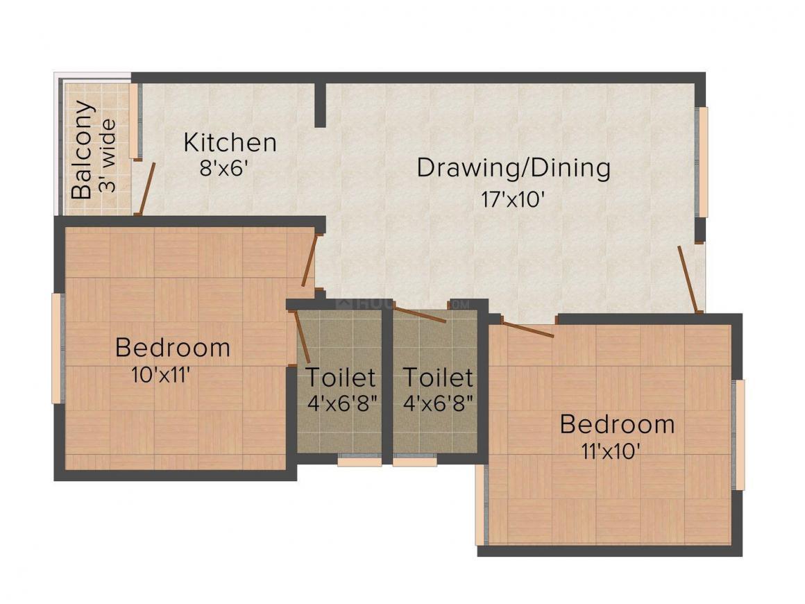 Floor Plan Image of 721 - 878 Sq.ft 2 BHK Apartment for buy in Maa Vaishnav Classic