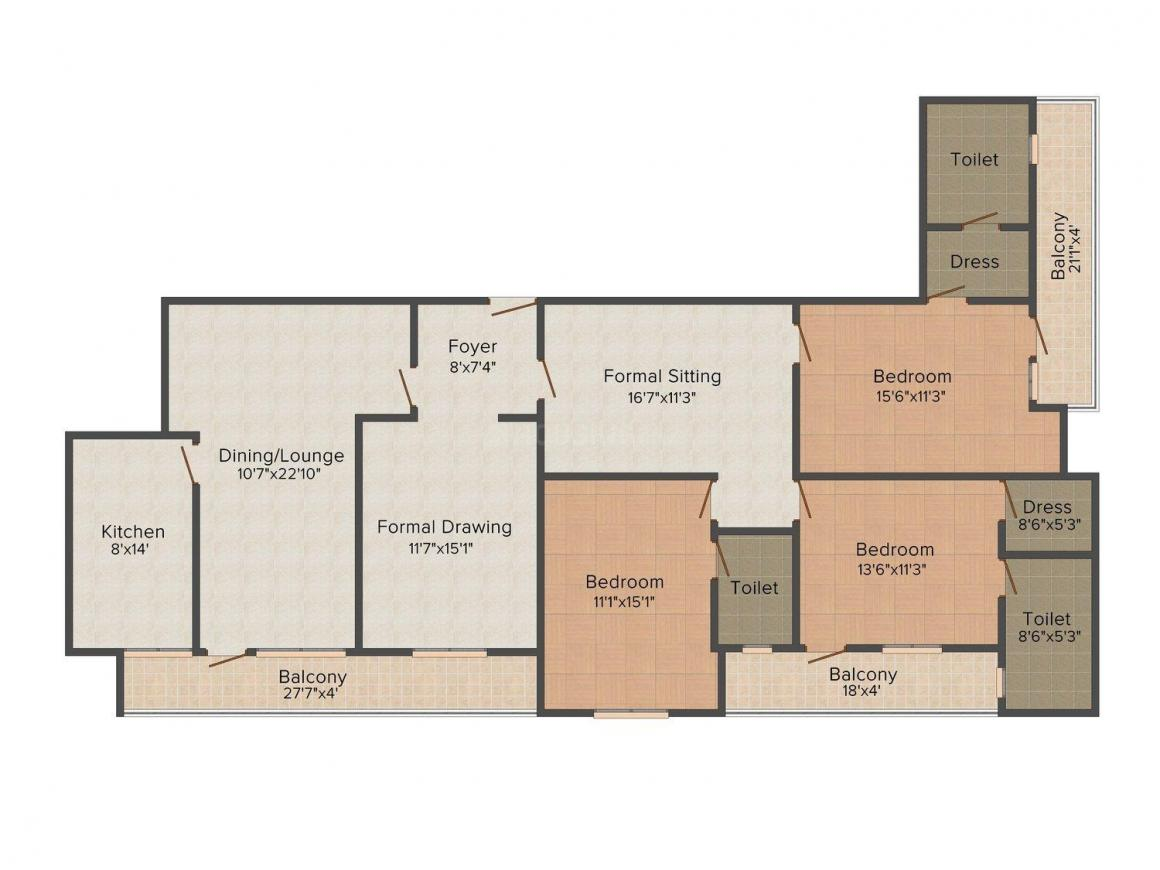 Floor Plan Image of 2520.0 - 3440.0 Sq.ft 3 BHK Apartment for buy in SDC Roshan Residency