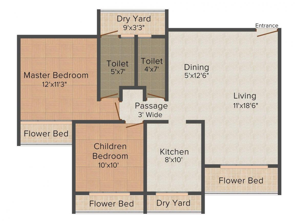 Floor Plan Image of 830 - 1220 Sq.ft 1.5 BHK Apartment for buy in Uma Sparta