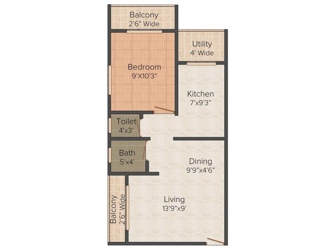 Floor Plan Image of 0 - 450.0 Sq.ft 1 BHK Apartment for buy in Amber Pooja