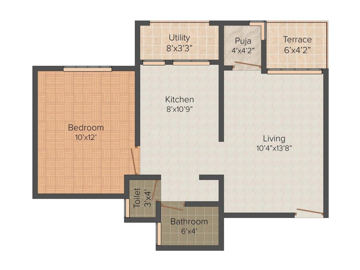 Sai Leela Floor Plan: 1 BHK Unit with Built up area of 621 sq.ft 1