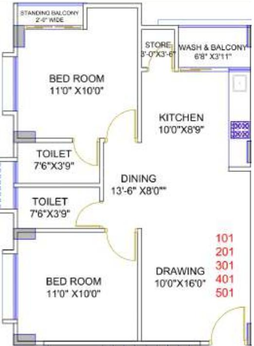 Bhavya Developers Simandhar Sharan Floor Plan: 2 BHK Unit with Built up area of 588 sq.ft 1