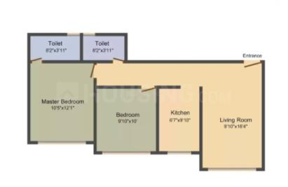 Samarth Parsavnath Floor Plan: 2 BHK Unit with Built up area of 988 sq.ft 1
