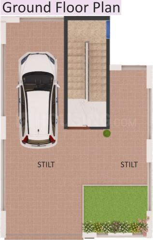 Sharp Orchid Villa Floor Plan: 1 BHK Unit with Built up area of 1319 sq.ft 1