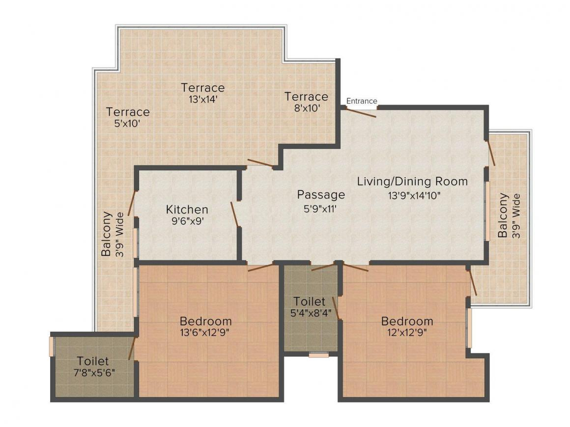 Ansal Ansal Town Karnal Floor Plan: 2 BHK Unit with Built up area of 1250 sq.ft 2