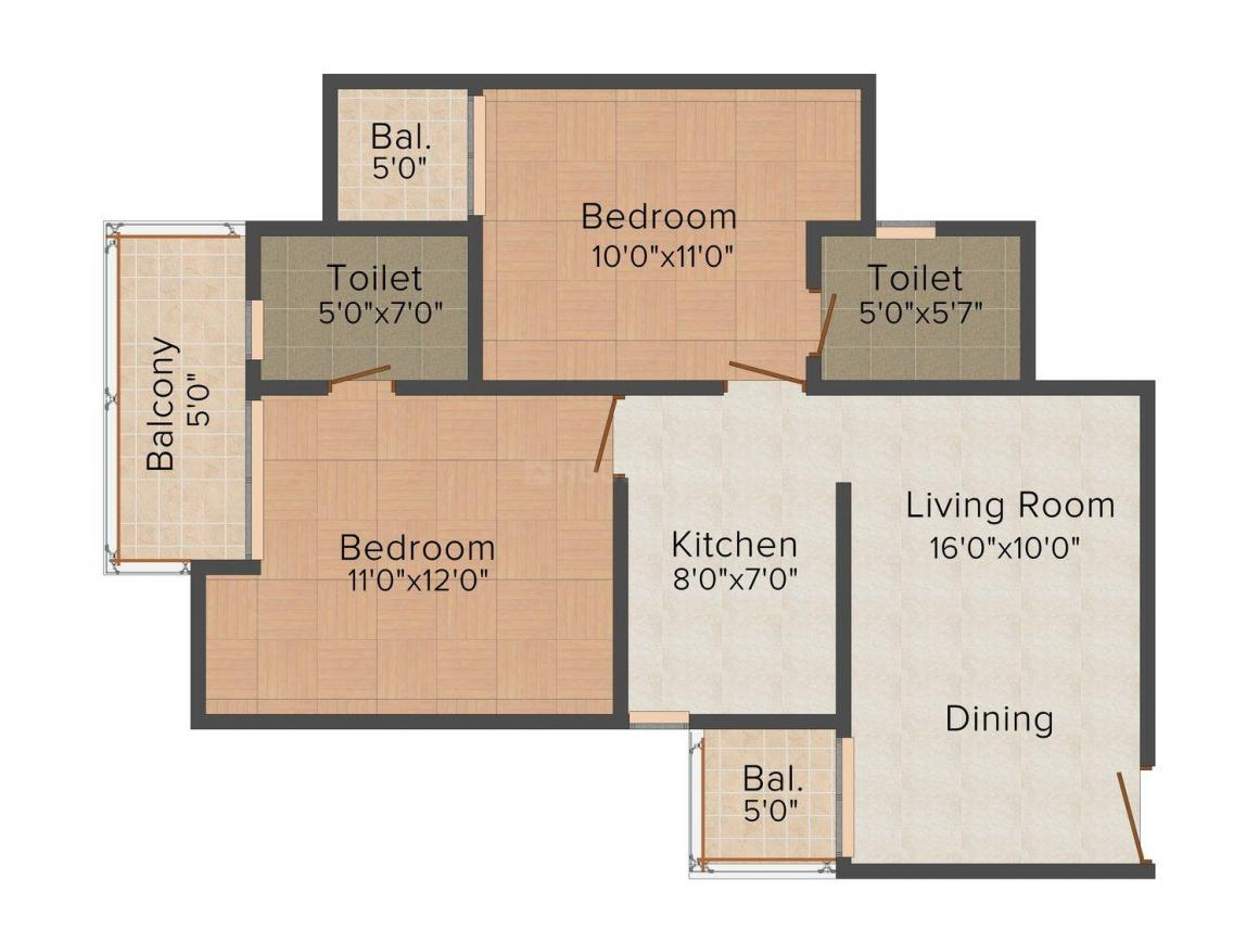 Gaursons Hi Tech 11th Avenue Floor Plan: 2 BHK Unit with Built up area of 564 sq.ft 1