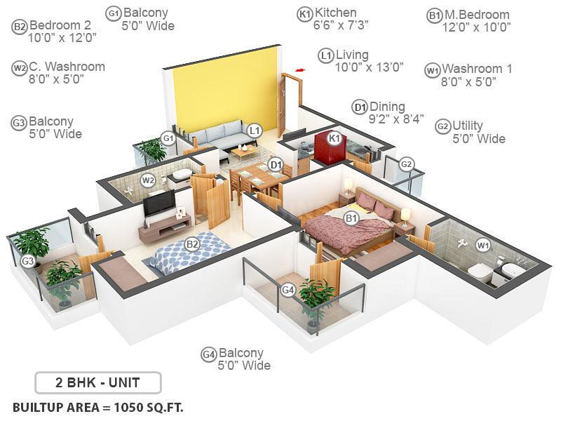 Shri Group Radha Aqua Garden Floor Plan: 2 BHK Unit with Built up area of 1050 sq.ft 1