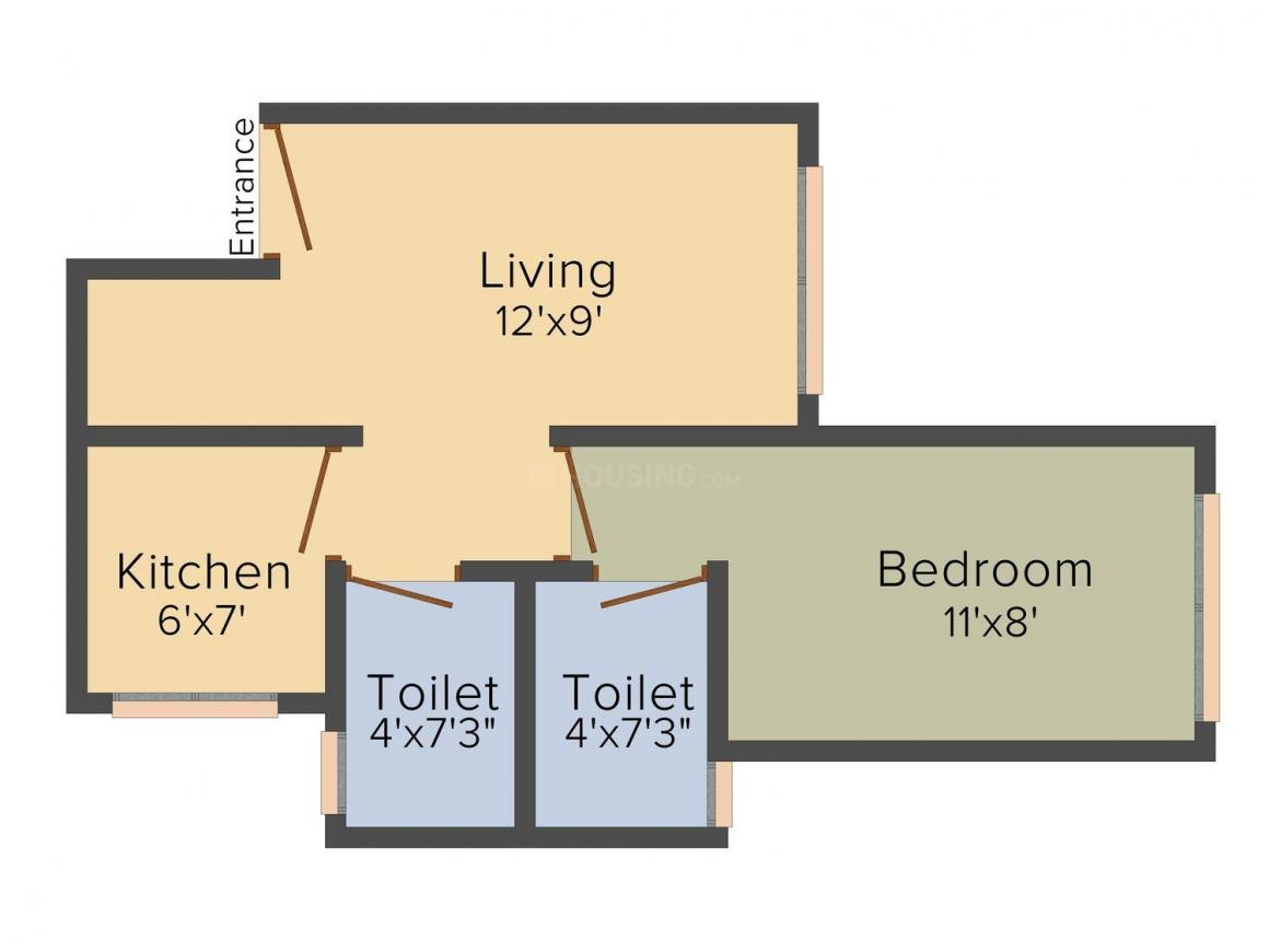 Floor Plan Image of 0 - 475.0 Sq.ft 1 BHK Apartment for buy in Supertech Green Hill View