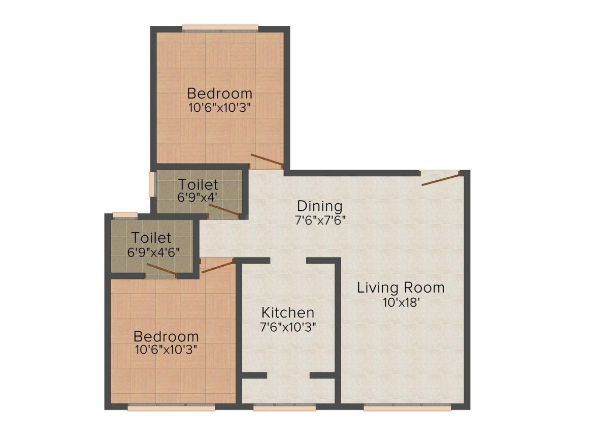 Floor Plan Image of 486 - 632 Sq.ft 1.5 BHK Apartment for buy in Swastik Sai Jharoka