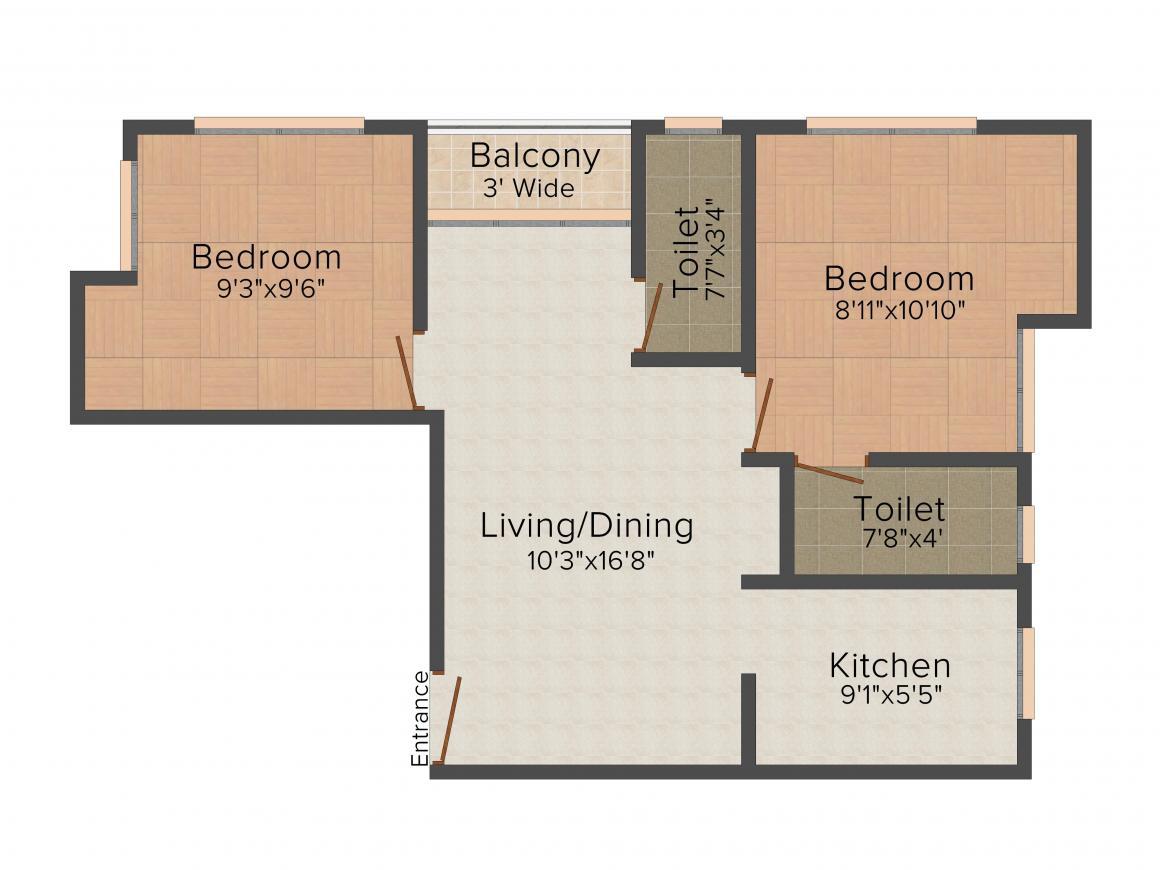 Floor Plan Image of 0 - 850.0 Sq.ft 2 BHK Apartment for buy in Joy 82 Lake Gardens