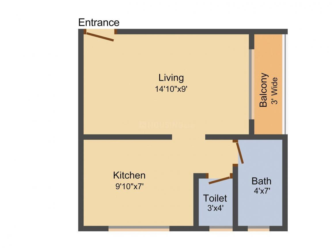 Floor Plan Image of 385.0 - 790.0 Sq.ft 1 RK Apartment for buy in Sharda Residency