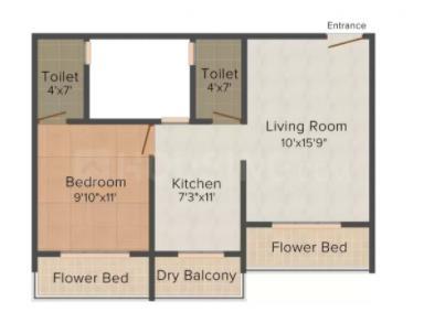 Shree Jalaram Allure Floor Plan: 1 BHK Unit with Built up area of 749 sq.ft 1