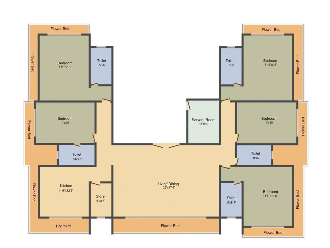 Floor Plan Image of 0 - 3865.0 Sq.ft 5 BHK Apartment for buy in Veena Sahil Villa