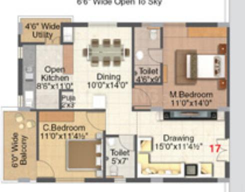 Pranava Lotus Park Floor Plan: 2 BHK Unit with Built up area of 1238 sq.ft 1