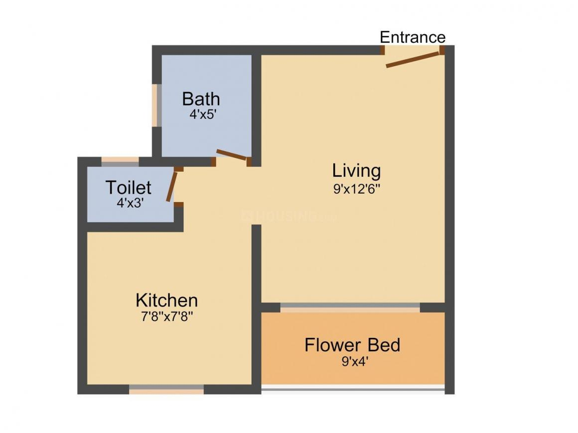 Floor Plan Image of 355.0 - 540.0 Sq.ft 1 RK Apartment for buy in Vedant Shree Bharadi Aai Heights