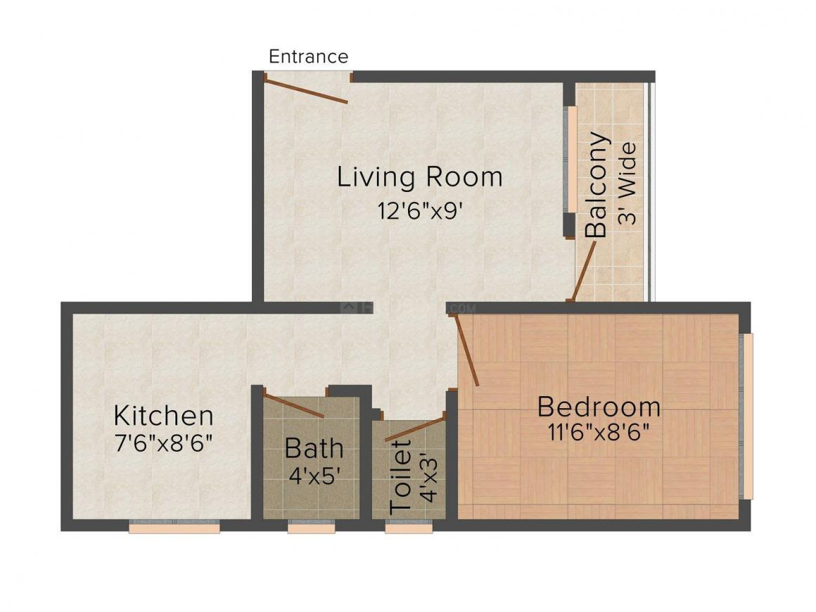 Floor Plan Image of 0 - 550.0 Sq.ft 1 BHK Apartment for buy in Global City