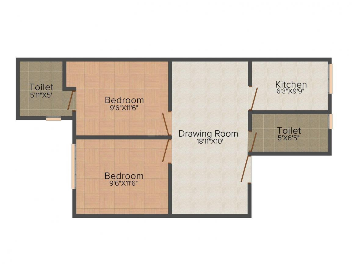 Floor Plan Image of 0 - 810.0 Sq.ft 2 BHK Apartment for buy in V. P. Homes 9