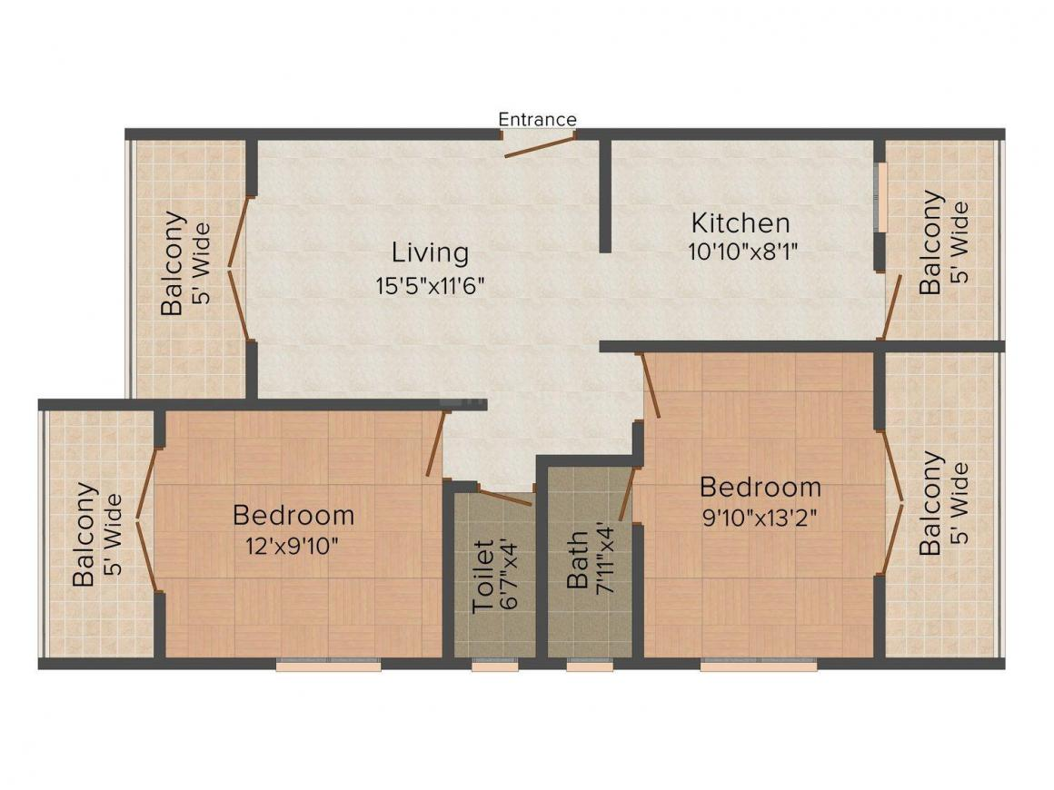 Floor Plan Image of 0 - 991.0 Sq.ft 2 BHK Apartment for buy in Shetye Plaza