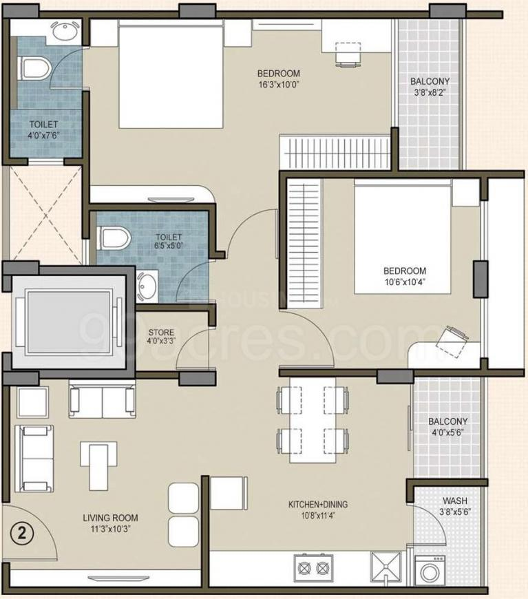 Indraprasth Homes Floor Plan: 2 BHK Unit with Built up area of 1210 sq.ft 1