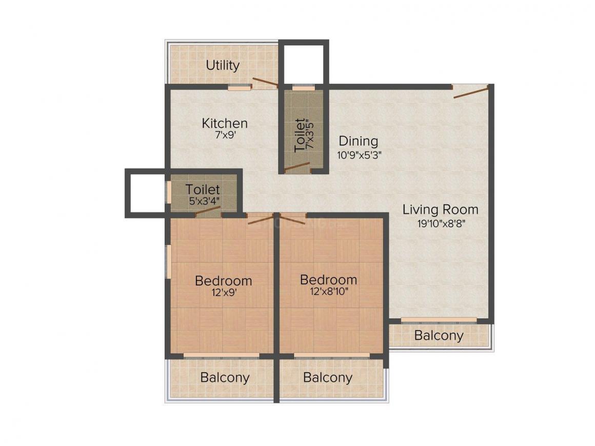 Floor Plan Image of 0 - 725.0 Sq.ft 2 BHK Apartment for buy in Dipti Bamanpuri