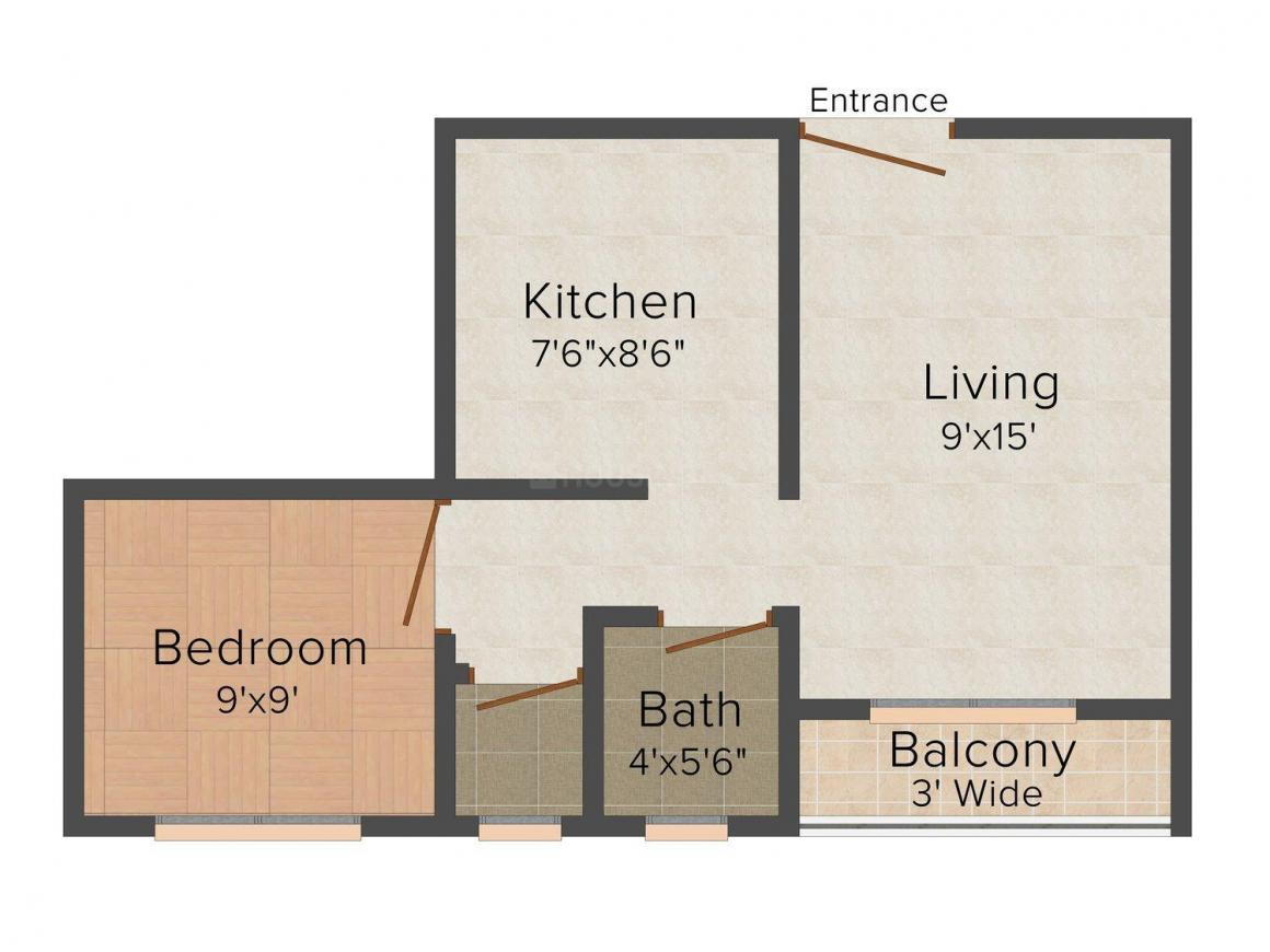 Shubh Shri Floor Plan: 1 BHK Unit with Built up area of 505 sq.ft 1