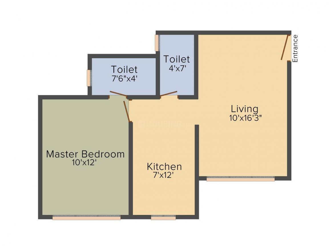 Floor Plan Image of 675 - 925 Sq.ft 1 BHK Apartment for buy in Kamla Landmarc AIMS - Whitefield