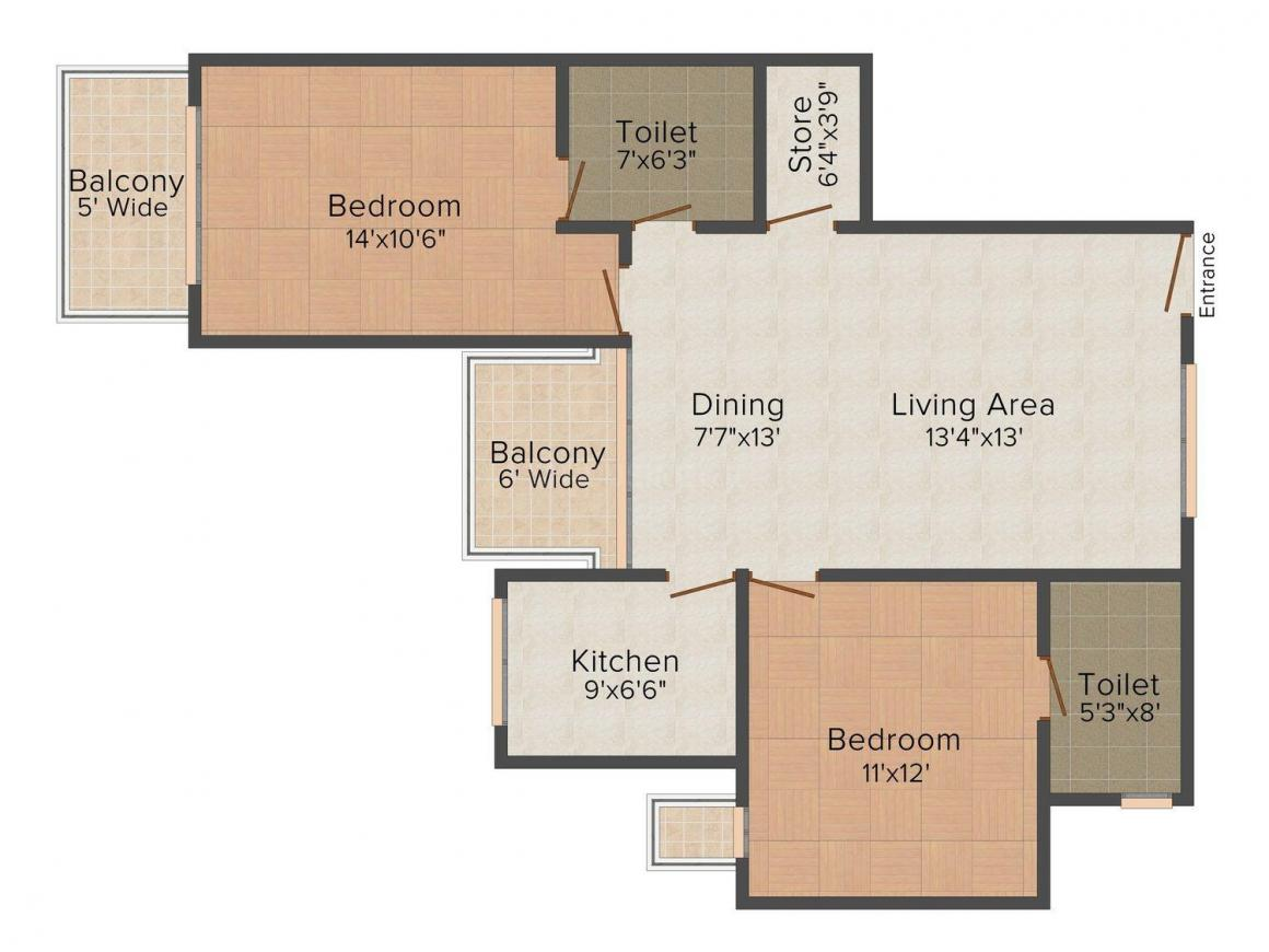 Ruhil Ruhil Residency Part 2 Floor Plan: 2 BHK Unit with Built up area of 1240 sq.ft 1