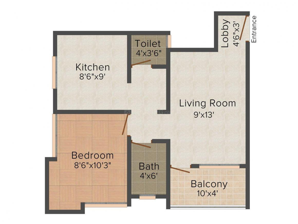Floor Plan Image of 530.0 - 600.0 Sq.ft 1 BHK Apartment for buy in Raikar Shree Laxmi Anand