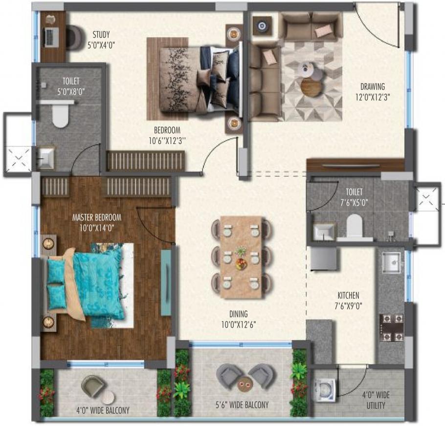 Vasavi Metropolis Floor Plan: 2 BHK Unit with Built up area of 1065 sq.ft 1