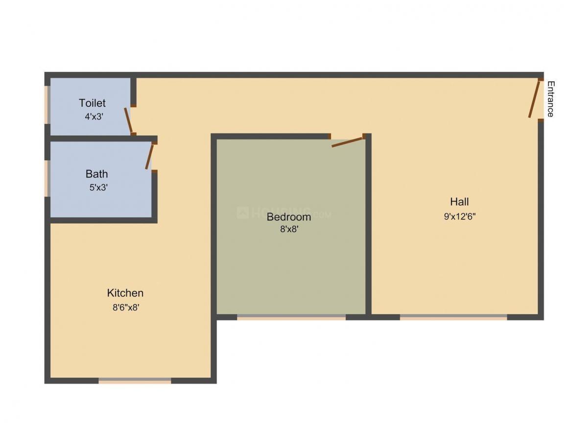 Floor Plan Image of 435.0 - 890.0 Sq.ft 1 BHK Apartment for buy in Om Sai Enterprises Yug Villa