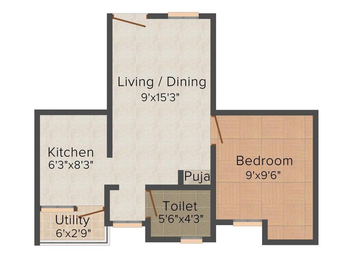 Floor Plan Image of 427.0 - 779.0 Sq.ft 1 BHK Apartment for buy in Shakthi Sastha