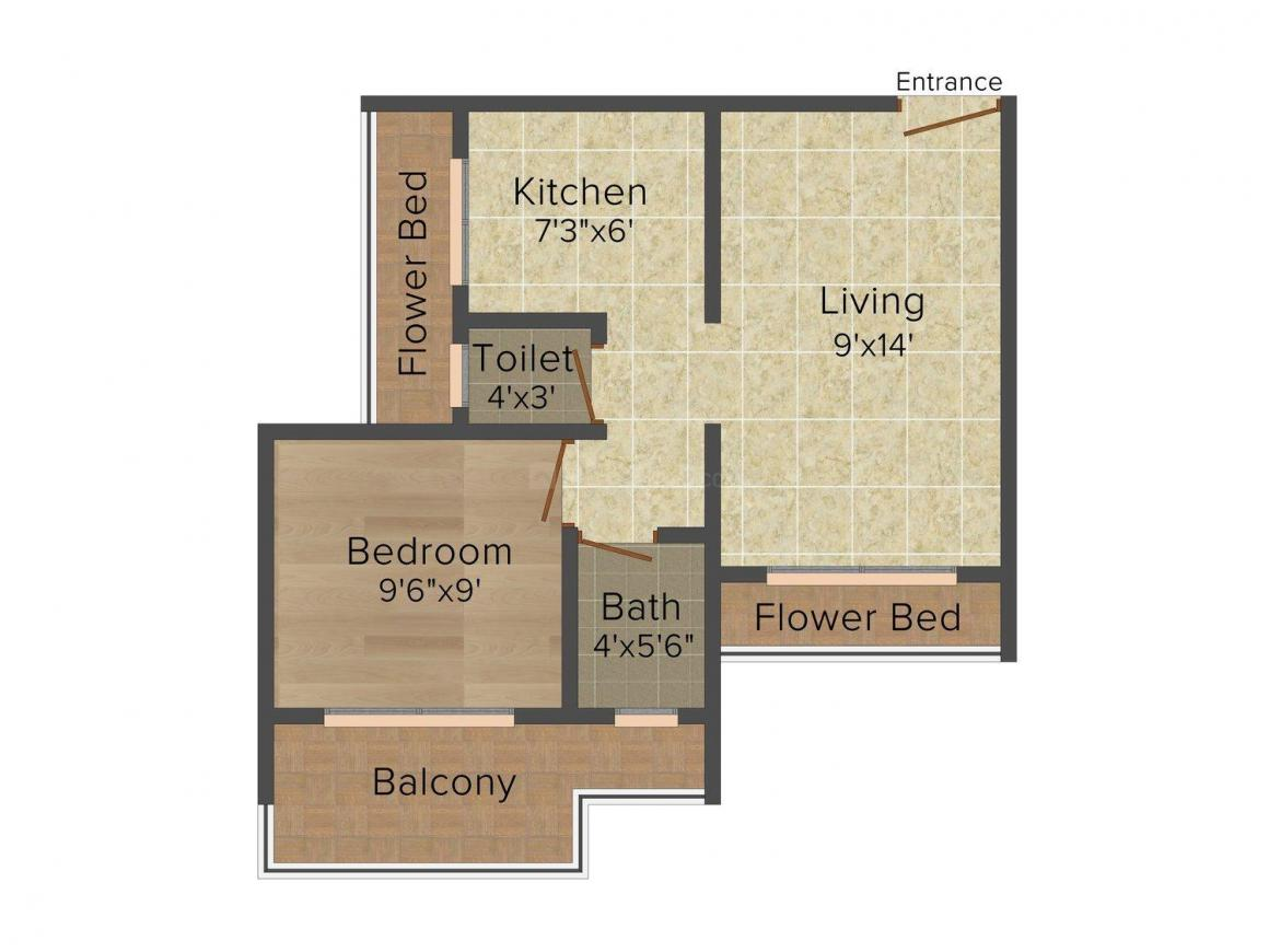Floor Plan Image of 0 - 600 Sq.ft 1 BHK Apartment for buy in Fourhand Momai Residency II