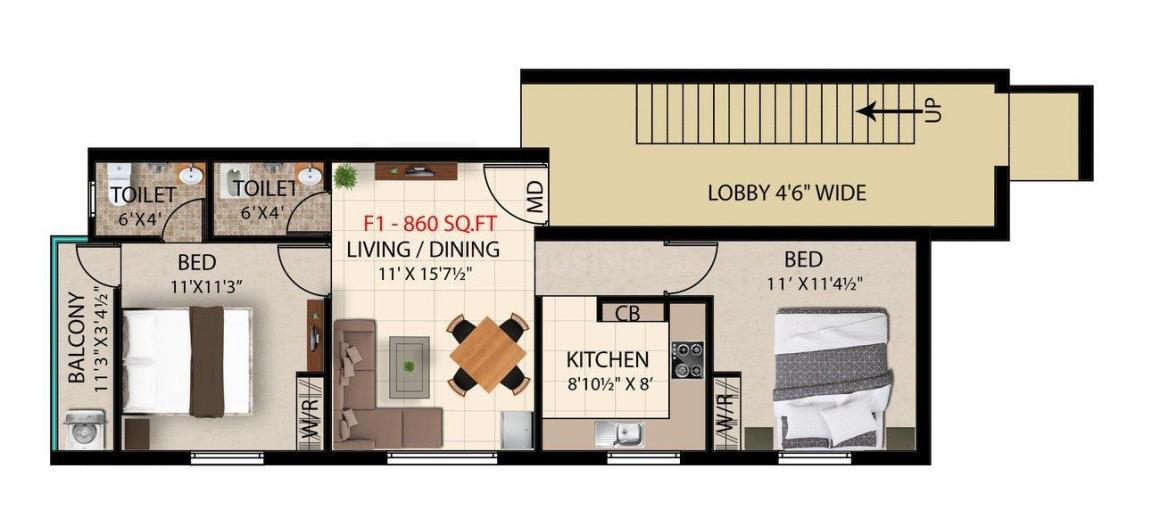 Floor Plan Image of 860.0 - 1170.0 Sq.ft 2 BHK Apartment for buy in Bharathi Sai Rukmani Maple