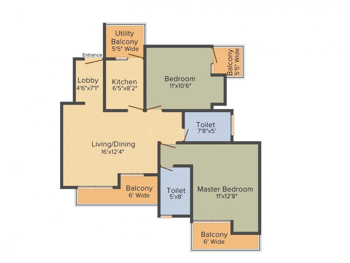 Floor Plan Image of 750 - 1450 Sq.ft 1 BHK Apartment for buy in KLJ Espana