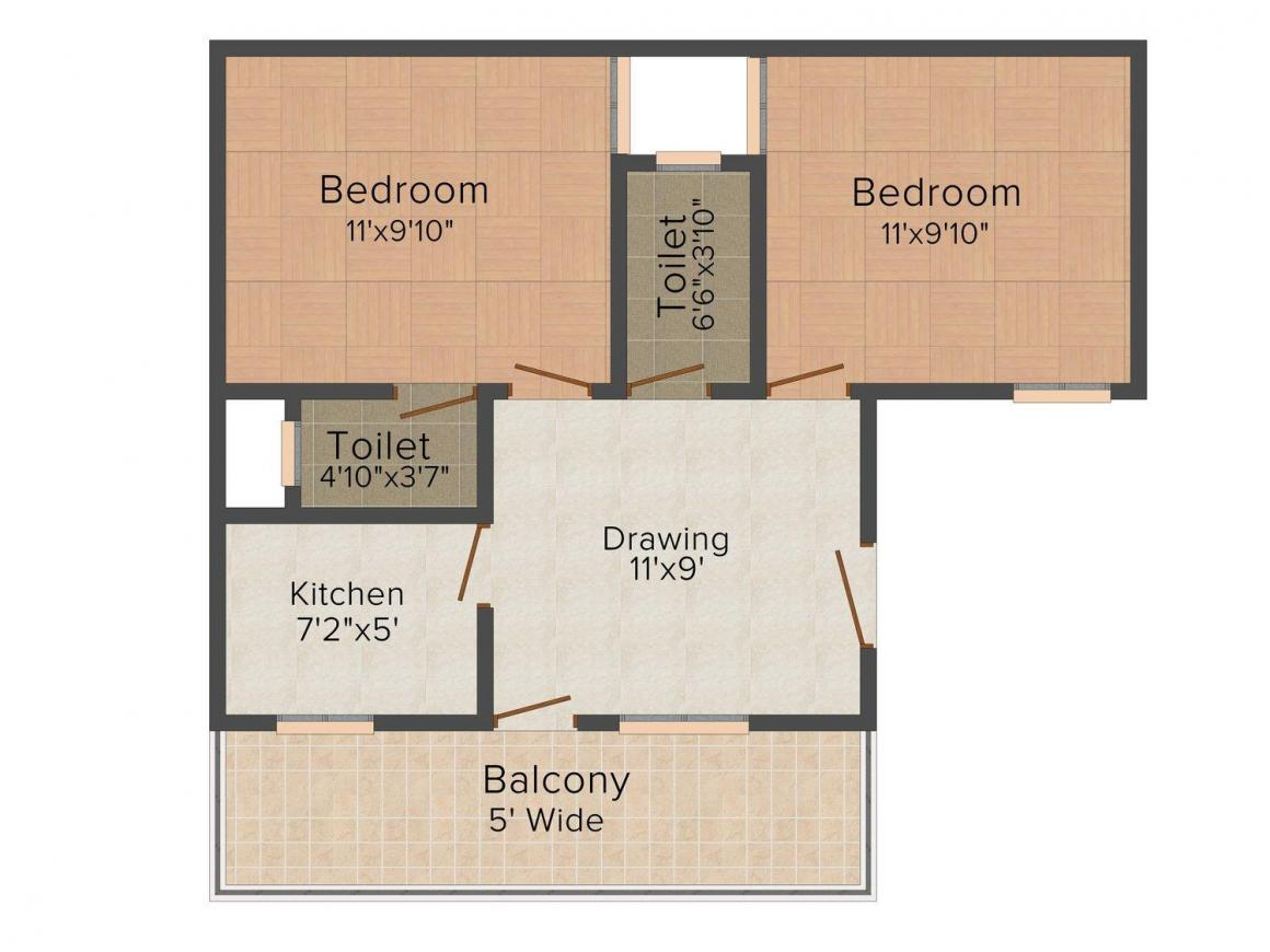 Floor Plan Image of 0 - 540 Sq.ft 2 BHK Independent Floor for buy in Jai Ambey Apartment - 1