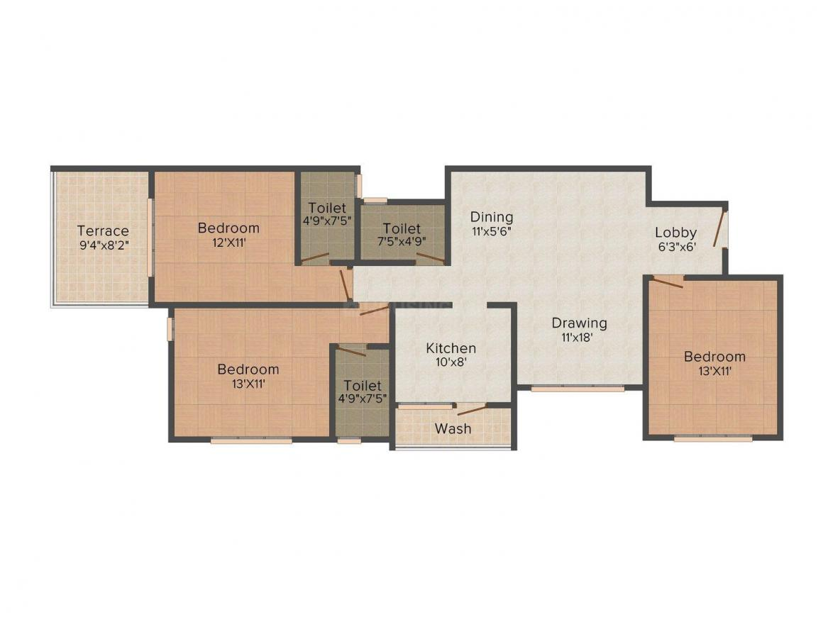 Floor Plan Image of 0 - 936 Sq.ft 3 BHK Apartment for buy in Concrete Satya Enclave